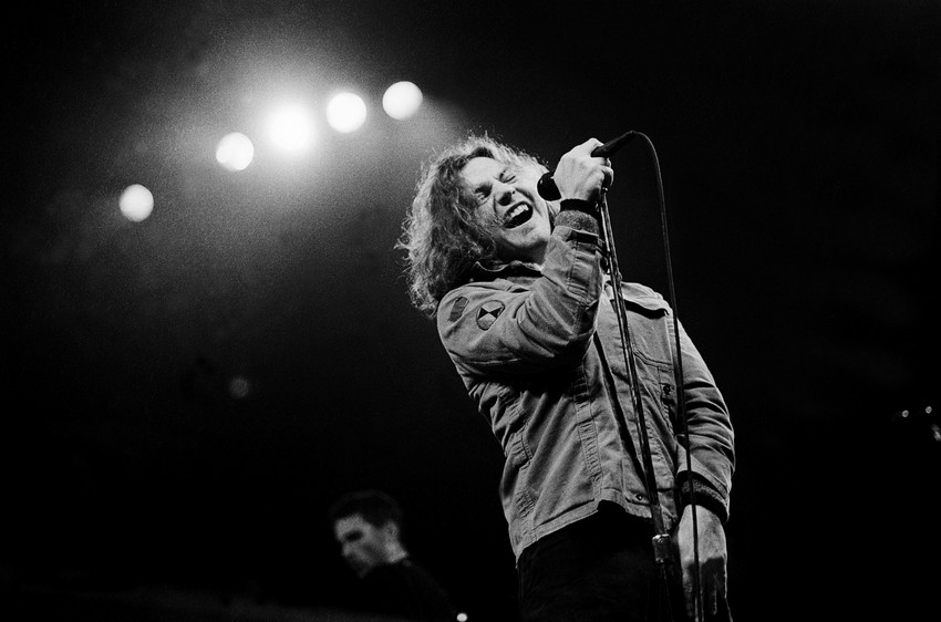 Pearl Jam plays the Chicago Stadium on March 7, 1994. (Photo by Paul Natkin/WireImage.com)