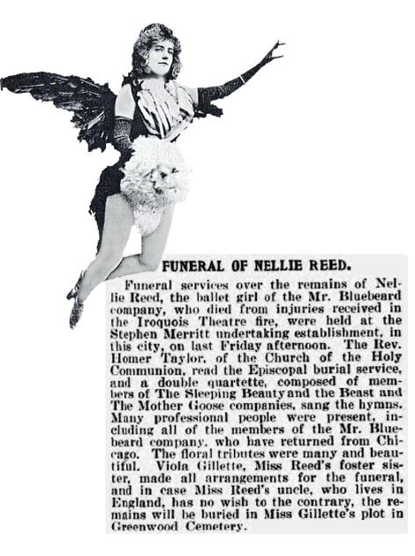 Nellie Reed, a trapeze artist in a show at the Iroquois Theater, was the only cast member killed as a result of the fire. Figures similar to the one above sometimes appear in photos people take in the alley. (Image courtesy Judy Cooke)