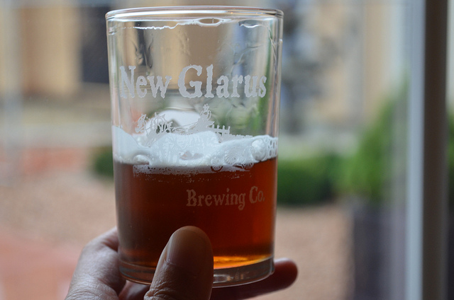 Seasonal Back 40 beer at New Glarus Brewing Company in New Glarus, Wis. (WBEZ/Louisa Chu)