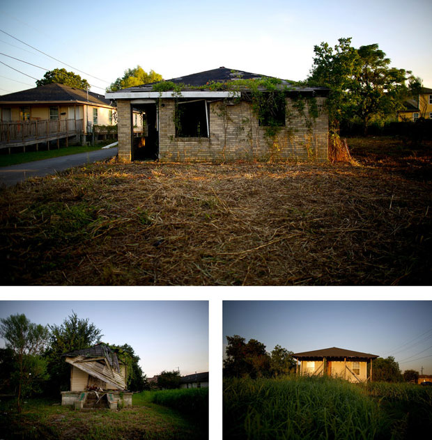Blocks and blocks of the 2.25-square-mile Lower Ninth Ward are dotted with empty lots and abandoned homes. (David Gilkey/NPR)