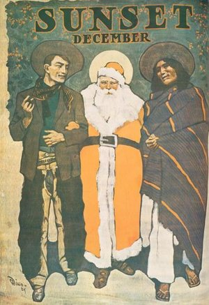 A 1904 San Francisco magazine cover, by Maynard Dixon, showing Santa Claus with a cowboy and a Native American man. (Photo courtesy New York Public Library)