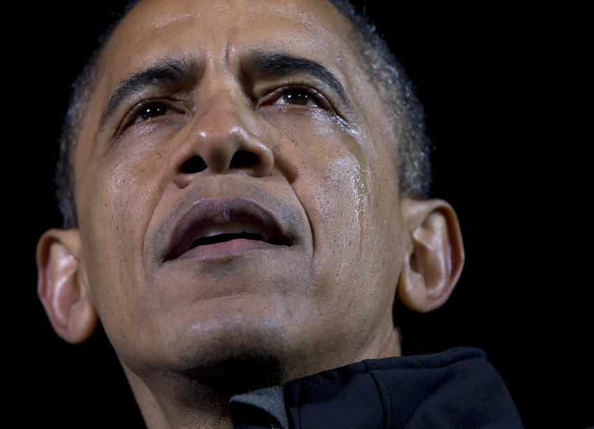 President Barack Obama tears up at his last campaign rally ever in downtown Des Moines, Iowa the night before the election. (AP)