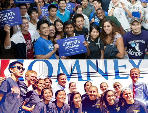 (Students for Obama and Young Americans for Romney Facebook photos)