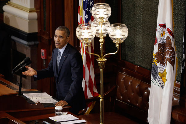 President Barack Obama addresses the Illinois General Assembly, Wednesday, Feb. 10, 2016, at the Illinois State Capitol in Springfield, Ill. Obama returned to Springfield, the place where his presidential career began, to mark the ninth anniversary of his entrance in the 2008 presidential race. (AP Photo/Jeff Roberson)
