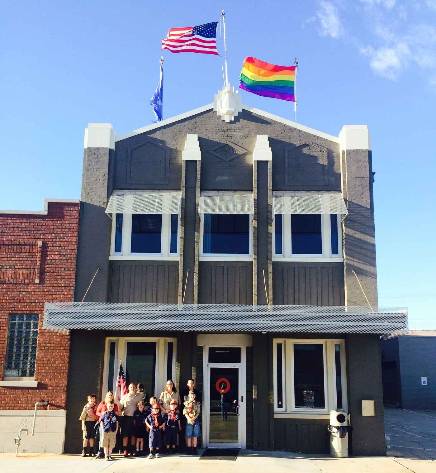 A rainbow flag flies above the Oklahomans for Equality community center in Tulsa, Okla., where Andy Grimes' Cub Scout pack gathers for meetings. (Amy Gastelum)