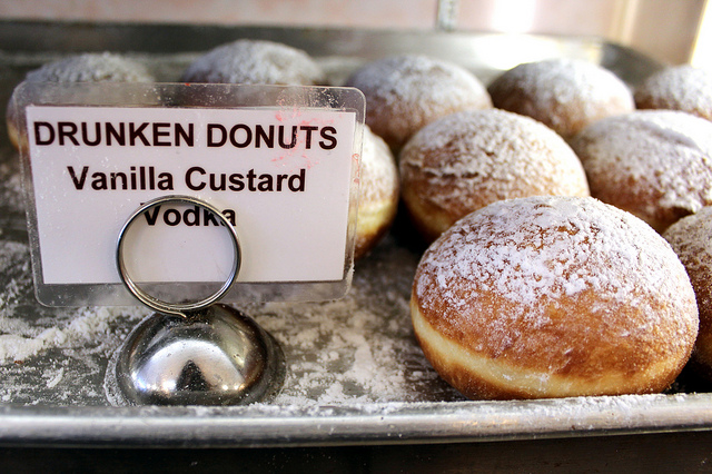 Drunken Donuts paczki with vanilla custard and vodka at Delightful Pastries in Jefferson Park, Chicago (WBEZ/Louisa Chu)