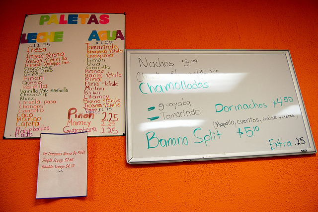 Paleteria la Plaza menus (WBEZ/Louisa Chu)