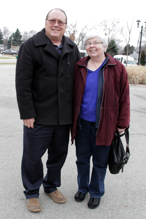 Paul Kaiser and his wife, Kathy, after visiting the Romeoville Area Historical Society. (WBEZ/Logan Jaffe)