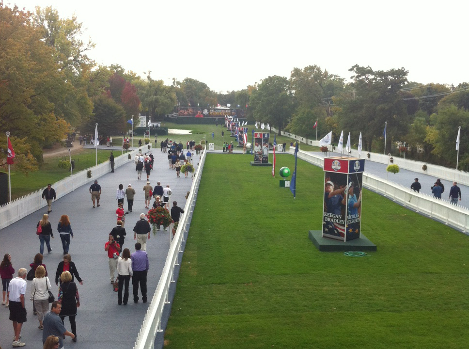 The main entrance to the Ryder Cup. (WBEZ/Andrew Gill)