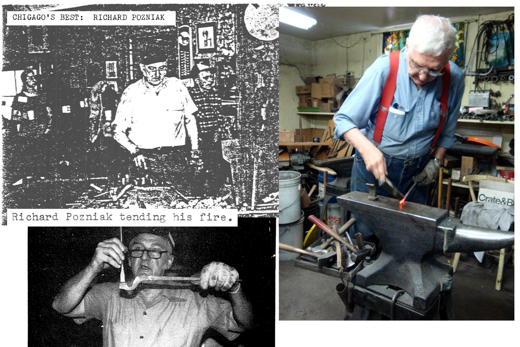Richard Pozniak, now 85, was the last City of Chicago blacksmith to work on the forge. Pozniak kept forging in his own shop for years after he retired, though, and has become a bit of a Chicago legend. (Photos courtesy New York State Designer Blacksmith newsletter archives and Peter Clowney)