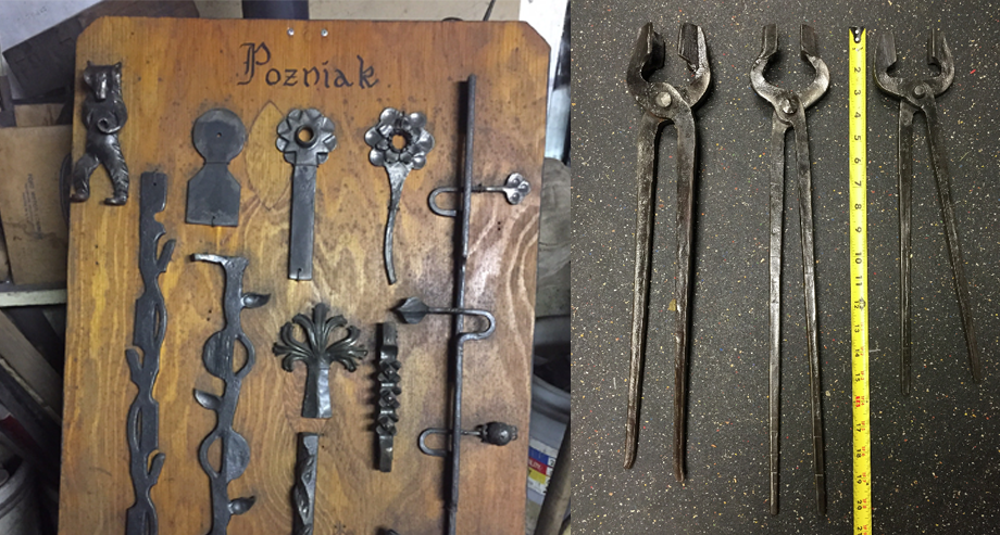 A sample of Pozniak's work, left, and a few pairs of legendary 'Poz tongs,' right. (Photos courtesy Peter Clowney)