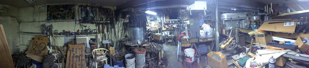 A panoramic photo of Richard Pozniak's basement. (Photo courtesy Peter Clowney)