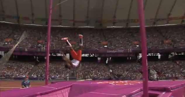 Cuban pole vaulter Lazaro Borges, falling.