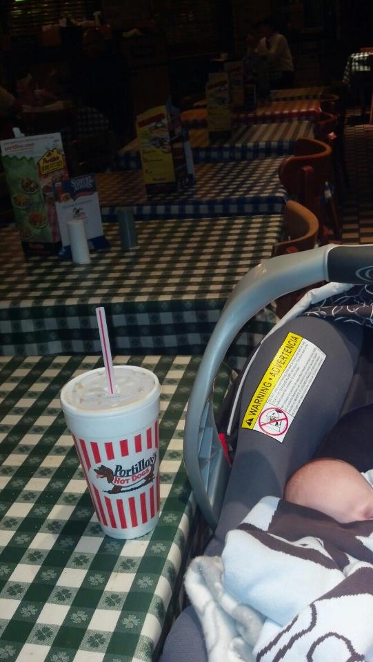 Our trip to Portillo's was a momentous day for the baby. (WBEZ/Claire Zulkey)