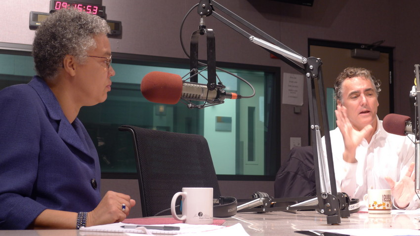 Cook County Board President Toni Preckwinkle and Cook County Sheriff Tom Dart. (WBEZ/Robin Amer)