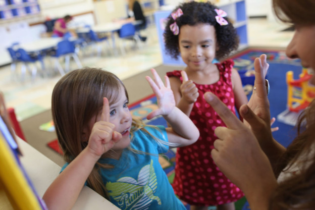 Pictured are children in a pre-kindergarten classroom in San Diego, California, on October 1, 2013. (Robert Benson/Getty Images for Knowledge Universe)