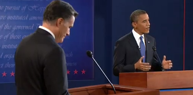 Governor Romney and President Obama at their first debate in Denver (Screenshot via WSJLive)