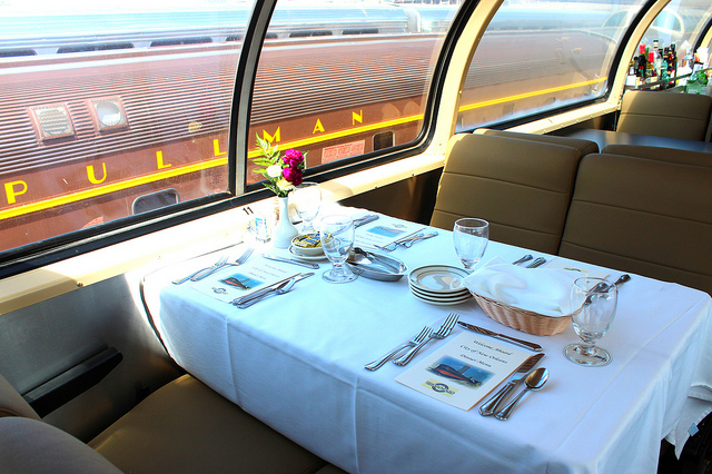 Dining table on Pullman Sleeping Car Company, Chicago to New Orleans (WBEZ/Louisa Chu)