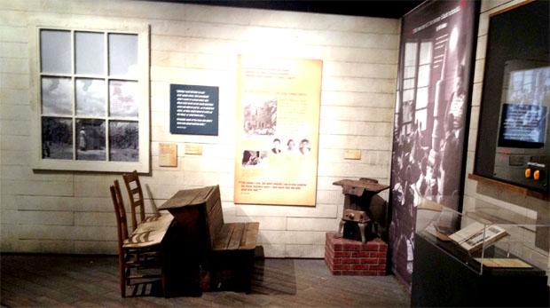 Rev. De Laine's workspace was replicated for the exhibit. Greta Johnsen/WBEZ