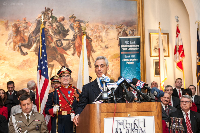 Chicago mayor Rahm Emanuel speaks at the Polish Museum of America on Casimir Pulaski Day in 2014. In 2012, negotiations between Emanuel and the Chicago Teacher's Union resulted in Chicago Public Schools dropping Pulaski Day as a day off from school. (Photo courtesy Polish Museum of America)
