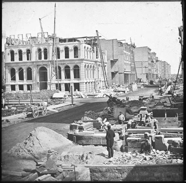 Before the fire wood construction was common but afterwards it was proscribed in much of the city. Image: The Rebuilding of the Marine Building; Glass Lantern Slide, ca. 1873. ichi-02845 (Courtesy of the Chicago History Museum)