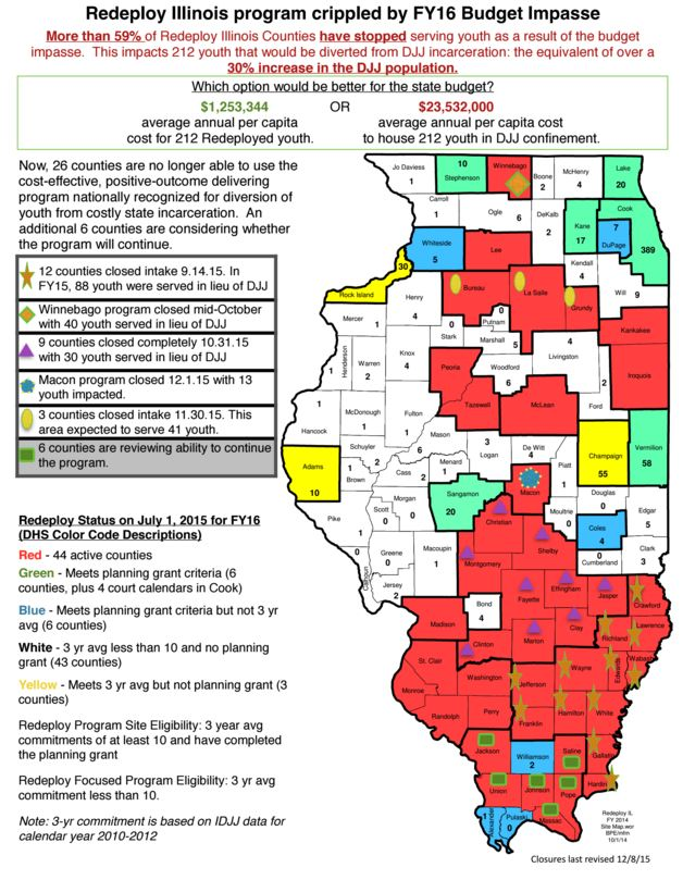 Redeploy Illinois has closed or stopped accepting new kids in 23 Illinois counties. That's more than half of the programs. (Map courtesy of the Illinois Collaboration on Youth)