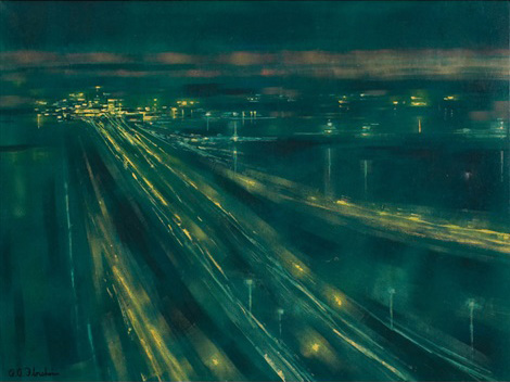 Richard Florsheim's 'Jet Landings' pictures the blue-green glow of Chicago street lights in the 1960s (Courtesy artnet.com)