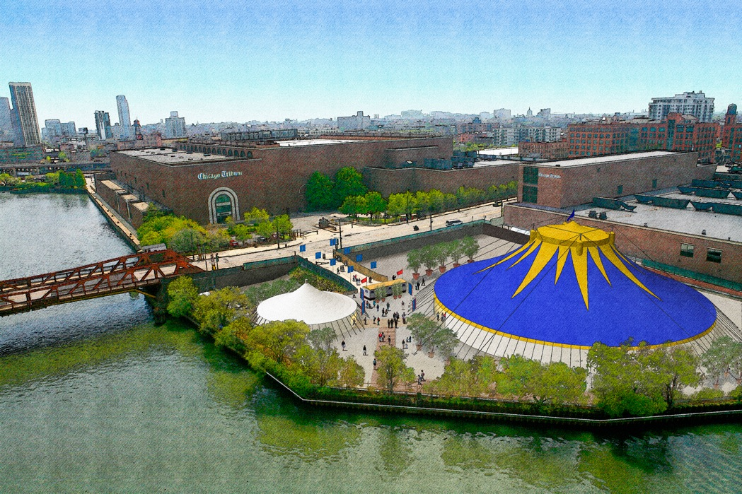 A mock-up of the new Riverfront Theater tent