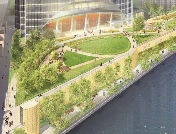 A park plan for the base of the River Point building, connects the property to the Chicago Riverwalk.  (Courtesy of Hines and Pickard Chilton)