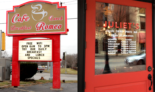 Romeo Cafe in Romeoville and Juliet's Tavern in Joliet are hints into the area's past lives. (WBEZ/Logan Jaffe and Katie Klocksin)