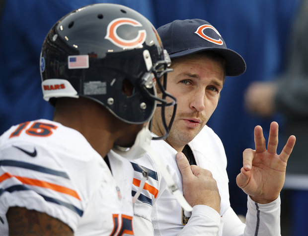Jay Cutler and Brandon Marshall connected for three TDs. (AP/Joe Howell)