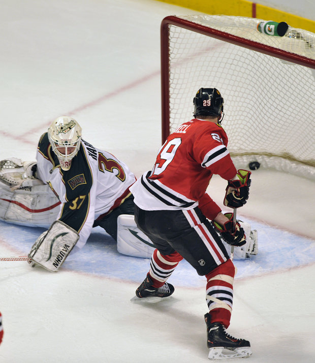 Chicago Blackhawks won Monday night in overtime with Bryan Bickell's goal, (AP)