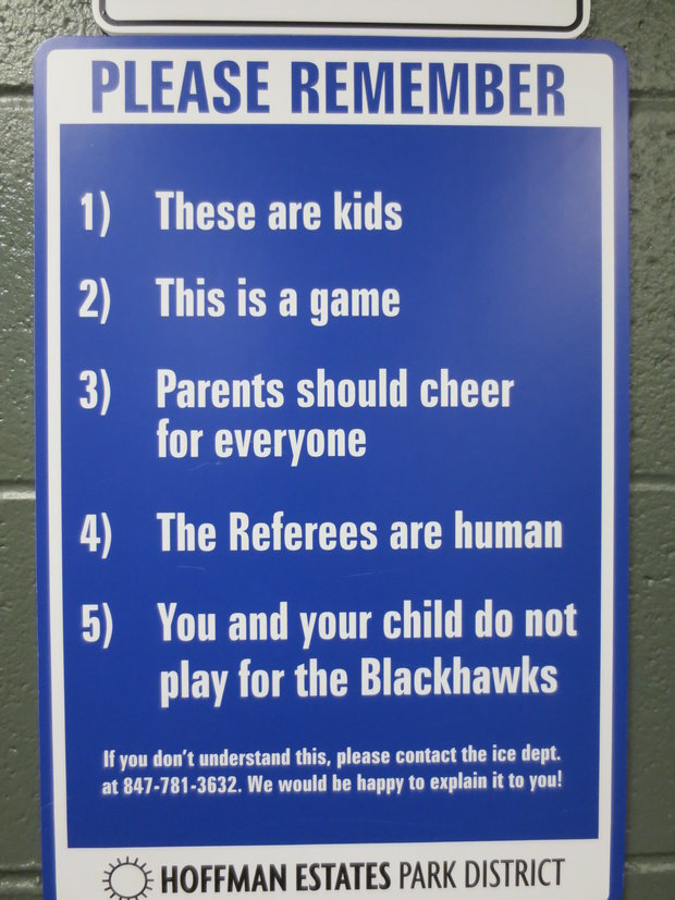 Hoffman Estates Park District spells out sportsmanship. (Cheryl Raye-Stout)