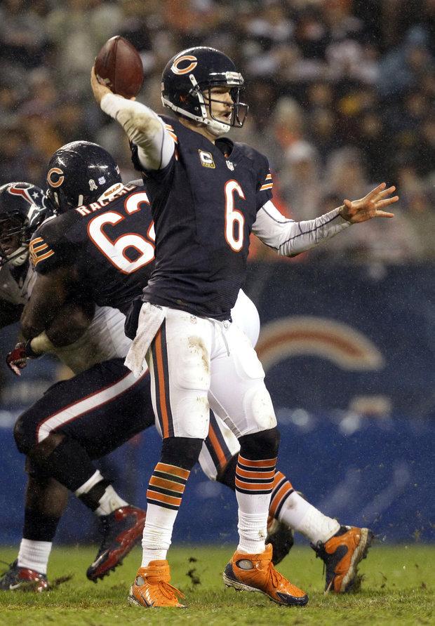 Jay Cutler wasn't sacked-he was hit plenty. (AP Photo/Nam Y. Huh)