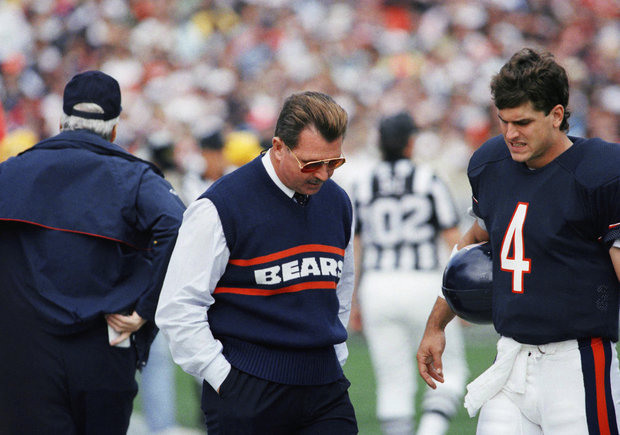 Former Bear Jim Harbaugh and Mike Ditka during his Chicago playing days. (AP Photo/Fred Jewell)