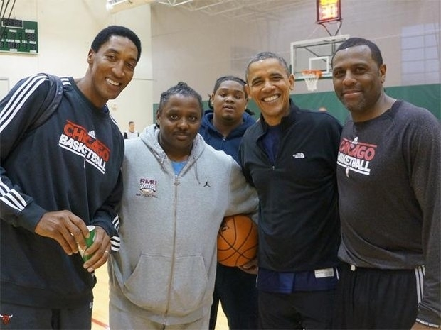 Former Bull Randy Brown (far right) had a thrill playing basketball with the President on Election Day. ( Photo courtesy from Randy Brown)