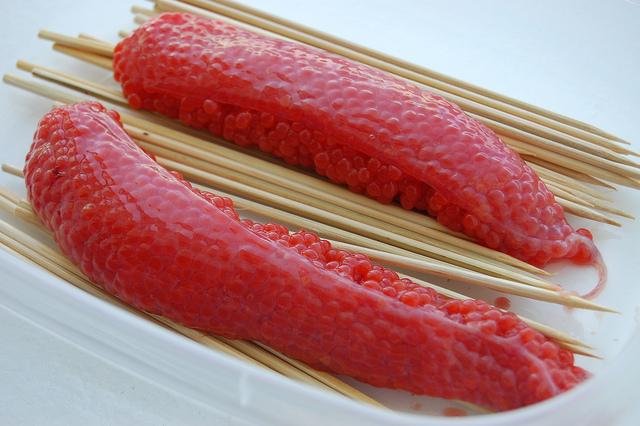 Coho salmon skeins (WBEZ/Louisa Chu)