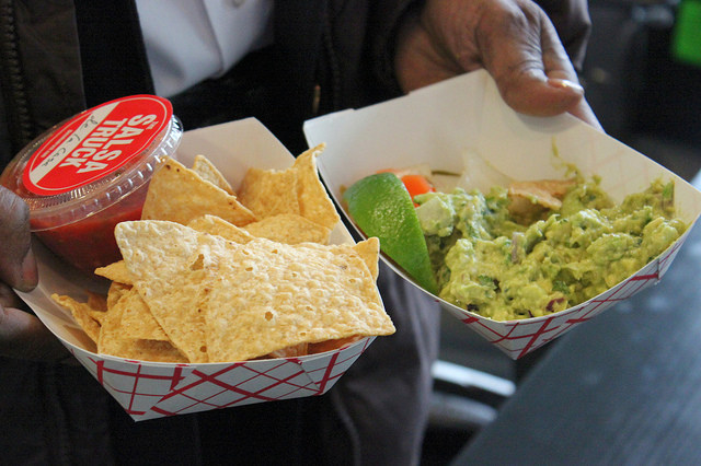 Chips with Salsa de la Casa and guacamole from The Salsa Truck in Chicago (WBEZ/Louisa Chu)