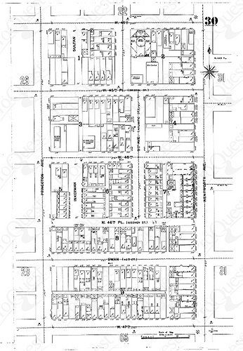 Sanborn map of 46th & Wentworth circa 1895. This area was demolished for the expressway. (ProQuest Sanborn Maps GeoEdition)