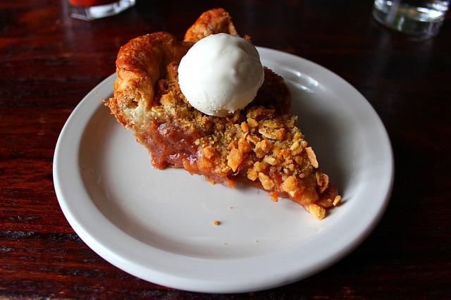 Bang Bang rhubarb pie with Sunday Dinner Club sour cream ice cream (WBEZ/Louisa Chu)