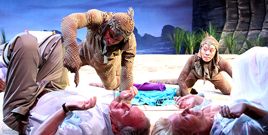 'Seascape' at Remy Bumppo features actors of color as the lizards. (Courtesy of the theater)