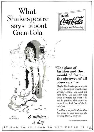 A 1928 Coca-Cola advertisement featuring William Shakespeare, published in Life Magazine. (Photo courtesy Coca-Cola)