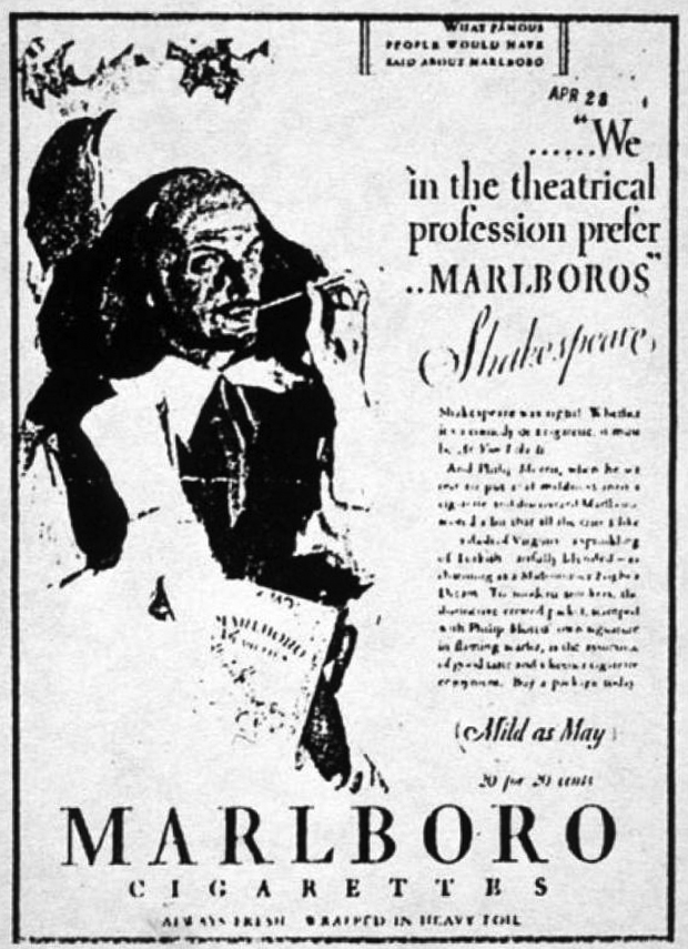 A 1928 ad for Marlboro cigarettes. (Photo courtesy canadianshakespeares.ca)