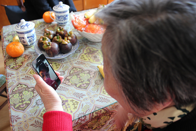 FaceTime over tea, mangosteens, and mandarines in Shanghai, China (WBEZ/Louisa Chu)