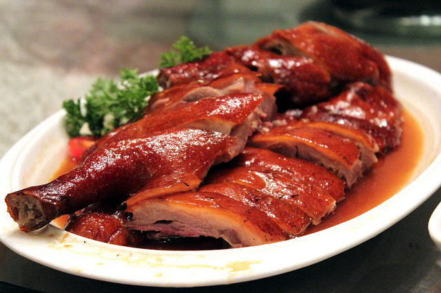 Tea smoked goose at Xin Wang Tea Restaurant in Shanghai, China (WBEZ/Louisa Chu)