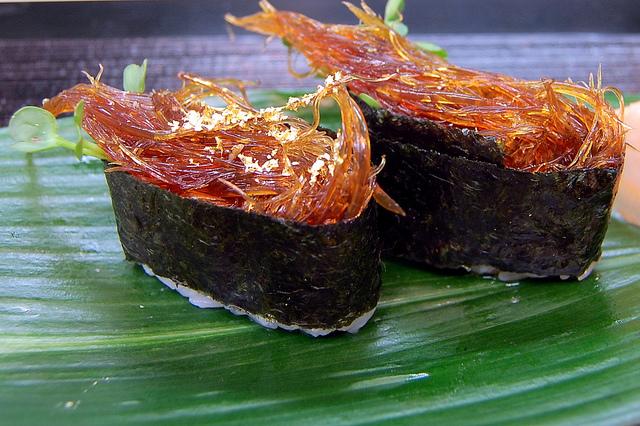 Shark fin sushi (WBEZ/Louisa Chu)