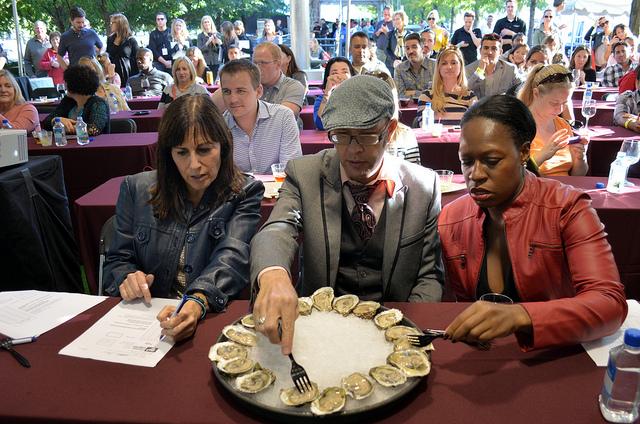 Supreme Shucker 2012 judges: CS dining editor Lisa Shames, mixologist Adam Seger, 312 Dining Diva Audarshia Townsend (WBEZ/Louisa Chu)