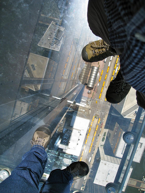 The view down from the Sky Deck at Willis Tower. (Flickr/Ambimb)