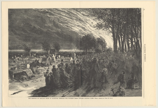 Illustration from Harper's Weekly featuring refugees in Lincoln Park during the Chicago Fire of 1871. (Courtesy of the Chicago History Museum)