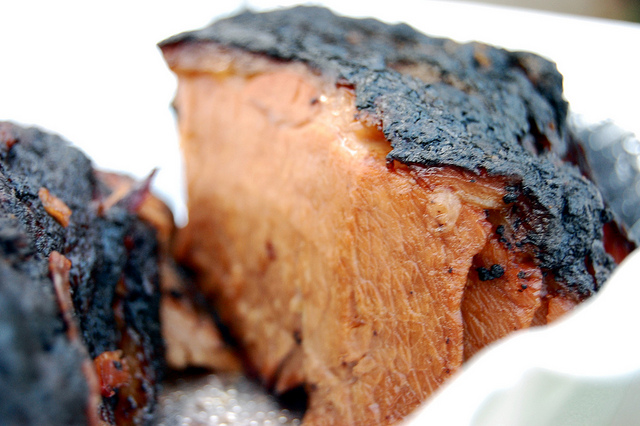 Crusty brisket slice by Smoque BBQ (WBEZ/Louisa Chu)